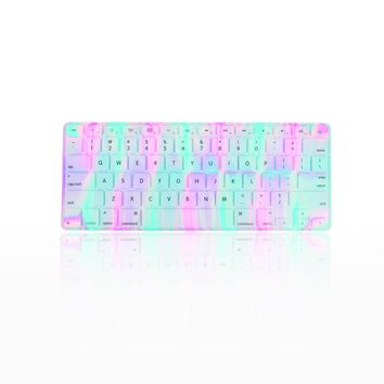 TopCase Polar Light Series Silicone Keyboard Cover Skin for Macbook,Pro and Macbook Air, 13-17 Inch with Mouse Pad - Lavender Spring