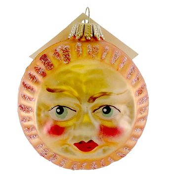 Larry Fraga Sun Face Glass Ornament