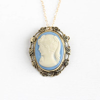 Vintage Gold Washed Sterling Silver Vermeil Cameo Brooch Pendant Necklace - Retro White & Baby Blue Lucite Flower Jewelry on 14K GF Chain