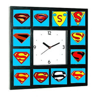 Superman Man of Steel Chest Emblem logo S history Clock