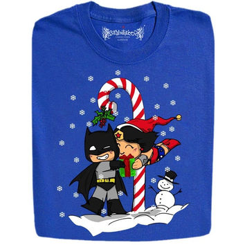 Wonder Women And Batman X-Mas Funny Design T- Shirt