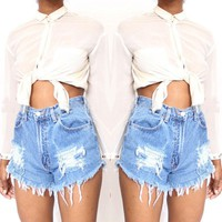 USA Women Casual High Waisted Short Mini Jeans Distressed Ripped Jeans Shorts