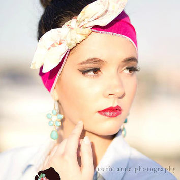 Dolly Bow ,Retro Headband hair band  turban head wrap Wide Stretchy  Fashion, all day comfort ...