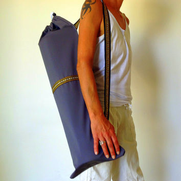 Grey YOGA / PILATES mat bag with Brown / Yellow / Orange woven aztec stripe 100% strong cotton drill. Re-enforced stitching