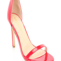 Red Ankle Strap Single Sole Heels Patent Faux Leather