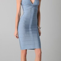 Herve Leger Novelty Essentials V Neck Cocktail Dress Haze