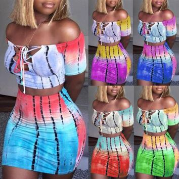 Women Set Bodycon Two Piece Off Shoulder Fashion Party Crop Top and Skirt Lace Up Contrast Color High Waist Skirts