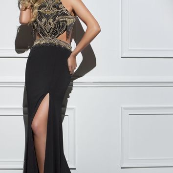 Tony Bowls Black & Gold Fringe Straight Gown