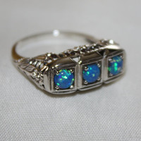Vintage Blue Opal Filigree Art Deco Style Ring Sterling Jewelry Statement Promise Engagement Ring