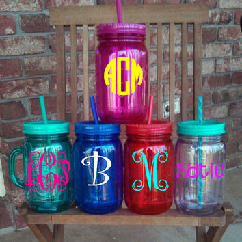 Jumbo (32 oz) Monogrammed Mason Jar Tumbler with Handle