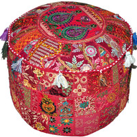 Maroon Bohemian Vintage Patchwork Indian Pouf Large Round Ottoman Seat Stool Embroidered Pouffe round cotton stool chair bench foot stool