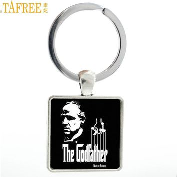 TAFREE Brand vintage The Godfather square keychain fashion Gangster movie cool men key chain ring holder jewelry mens gifts MV54