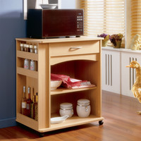 Contemporary Kitchen Microwave Cart in Natural Maple Finish