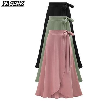 YAGENZ 6XL Large size Ladies Skirt Spring Summer New Black High waist Pleated Long skirt Lady Elegant Irregular Big Swing Skirt