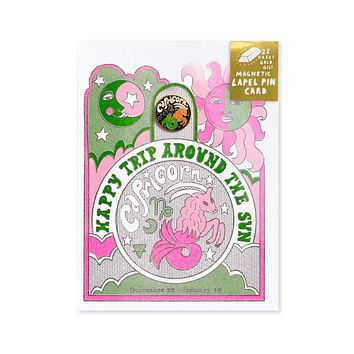 Astrology Birthday Card + Pin Combo - Capricorn