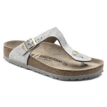 Sale Birkenstock Gizeh Suede Leather Washed Metallic Blue Silver 1008699 Sandals