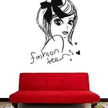 Wall Stickers Beautiful Girl Teen Fashion Teens Cool Decor For You Unique Gift z1894