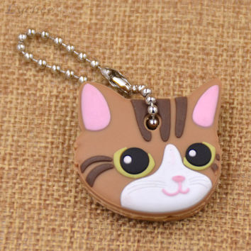 Cute Brown Soft Rubber Key Cap/Cover Keychain