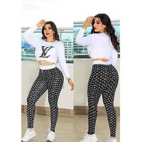 Louis Vuitton LV Hot Sale Women Casual Long Sleeve High Waist Top Pants Set Two-Piece