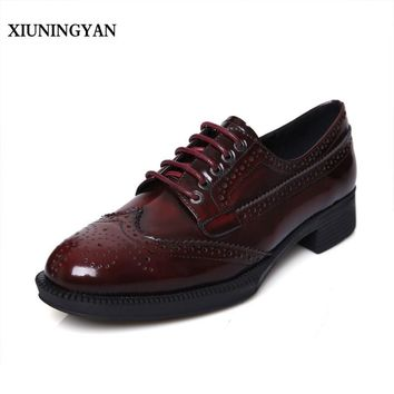 XIUNINGYAN Women Handmade Shoes 2018 Fashion Real Cow Leather Womens Flats Oxford Shoes Lace-up Women's Vintage Brogue Shoes