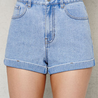 PacSun Bumble Blue Cuffed Denim Mom Shorts at PacSun.com