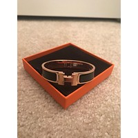 NIB-Authentic-Hermes-PM-Clic-H-Rose-Gold-Enamel-Black-Bangle-Bracelet