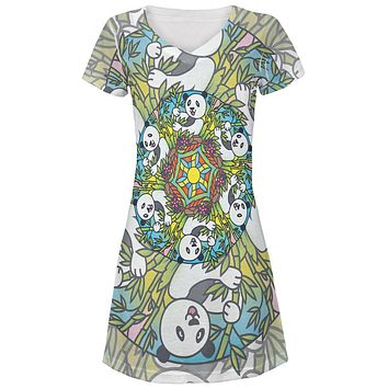 Mandala Trippy Stained Glass Panda Juniors V-Neck Beach Cover-Up Dress