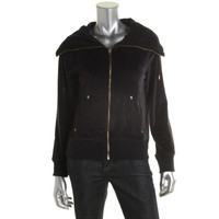 MICHAEL Michael Kors Womens Velour Funnel Neck Athletic Jacket