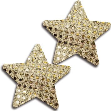 Shiny Gold Dot Self Adhesive Flat Star Pasties. (One Size,Gold)