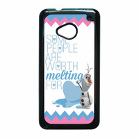 Olaf Quote Melting The Disney Frozen Pink Blue Chevron HTC One M7 Case