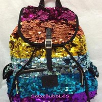 NWT VICTORIAS SECRET PINK RAINBOW BLING SEQUIN  BACKPACK LIMITED ED BOOK BAG