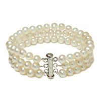 "Sterling Silver 3-Row White A Grade 6.5-7mm Freshwater Cultured Pearl Bracelet, 8"": Jewelry: Amazon.com"