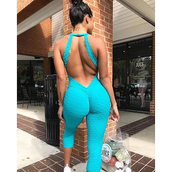 2018 Fitness Clothing Women's One-pieces Sports Suit Set Workout Gym Fitness Jumpsuit Pants Sexy Yoga Set Bandage Gym Bodysuit