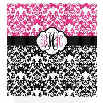 Damask SHOWER CURTAIN Hot Pink Black Custom MONOGRAM Personalized Bathroom Decor Damask Bathroom Bath Towel,  Bath Mat