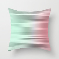 Mint  - Gray -  Pink  - Throw Pillow Cover Includes Pillow Insert -  Mint Green - Gray and Coral Pink - Made to Order