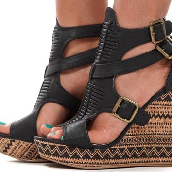 Black Weave Front Aztec Print Wedge