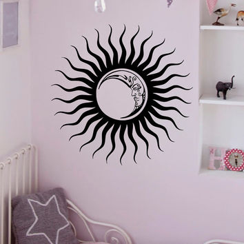 Wall Decals Vinyl Stickers Sun Moon Crescent Ethnic Dual Night Symbol Decal Wall Art Home Interior Decor Bedroom Dorm Living Room C052