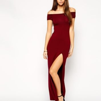 ASOS PETITE Exclusive Bardot Bodycon Maxi Dress with Thigh Split at asos.com