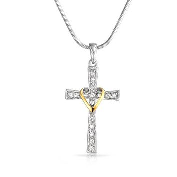 Infinity Love Heart Cross Pendant CZ Pave Necklace 14K Gold Plated