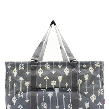 Utility Tote Large Gray & White Foil Arrow Print