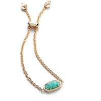 Kendra Scott: Elaina Adjustable Chain Bracelet In Aqua Kyocera Opal