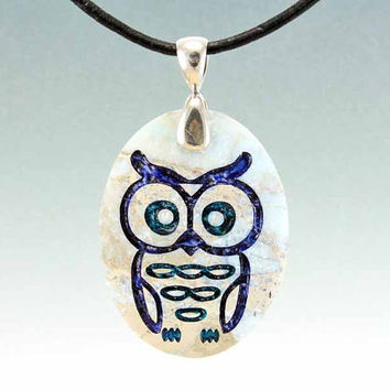 Woodland Owl  Engraved Stone Pendant  Aqua by CreativeArtandSoul
