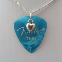 Fender Turquoise guitar pick necklace with heart charm