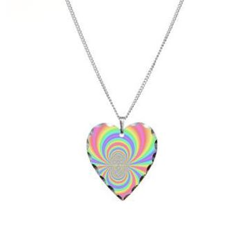 Psychedelic Rainbow Necklace Heart Charm> Psychedelic Rainbow> Accessorize Me