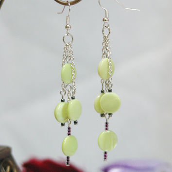 French Wire Dangle Chain Link Earrings with Vintage Lime Green Coin Shell Beads + Japanese Glass Seed Beads, Shoulder Dusters EFWN001