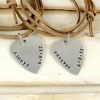 Guitar Pick Necklace, Always Forever, Couples Jewelry, His and Hers