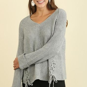 V Neck Sweater with Lace up Drawstring Sides and Folded Cuffs - Grey