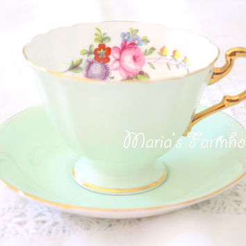 Vintage Footed Tea Cup and Saucer by Paragon, Gifts or Her, Tea Party, Replacement China, Pastel Green, Shabby