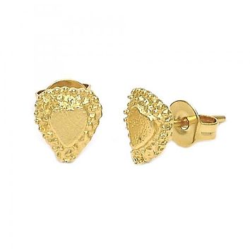 Gold Layered 02.100.0036 Stud Earring, Heart Design, Diamond Cutting Finish, Golden Tone