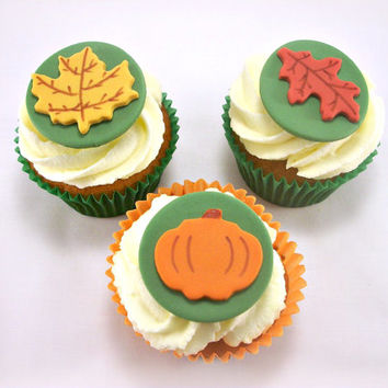 12 Fall Party Fondant Cupcake Toppers, Autumn Cake Fondant Toppers, Thanksgiving Toppers, Fall Leaves Pumpkin Topper, Maple Oak Leaf Fondant